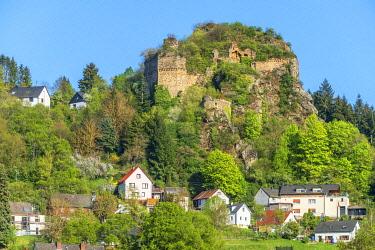 GER12147AW Castle ruin Kallenfels, Kirn, Nahe valley, Hunsruck, Rhineland-Palatinate, Germany