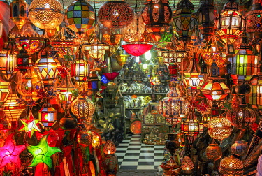 Traditional multicolored glass lamp, Morocco, High Atlas, Marrakech, imperial city, medina listed as World Heritage by UNESCO, Souk