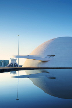 BRA3855AW South America, Brazil, Brasilia, view of the National Museum of the Republic and the cathedra