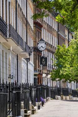 ENG17295AW United Kingdom, England, London, Georgian houses with original Eightenth Century wrought iron railings, on John Street in Bloomsbury