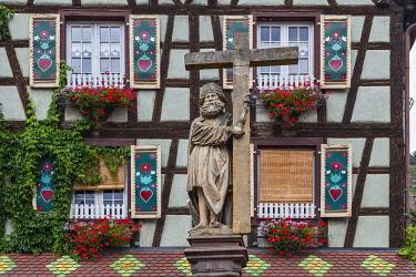 CLKDB129250 France, Alsace, Kaysersberg . Typical windows of Kaysersberg  village