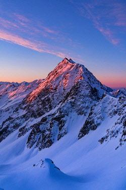 CLKGM129544 Sunrisescape from a summit of Stelvio National Park during winter. Savoretta mount, Stelvio National park, SOndalo, Valtellina, Sondrio district, Lombardy, Italy, Europe.
