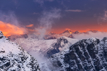 CLKGM130691 Winter sunsetscape over the mountains of Valmalenco valley. Marinelli refuge, Valmalenco valley, Sondrio district, Valtellina, Alps, Lombardy, Italy, Europe.
