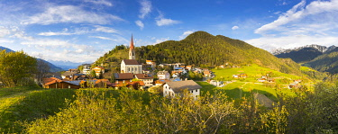 CLKMC132290 a panoramic view of the little alpine village of Teis (Tiso) in Villnöss, Bolzano province, South Tyrol, Trentino Alto Adige, Italy