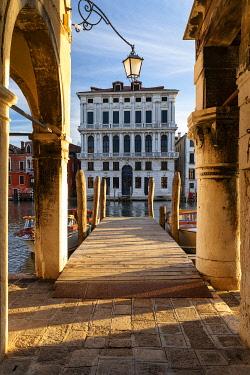 CLKNM132669 Pier on Grand Canal, Venice, Veneto, Italy, Europe