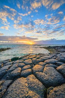 CLKRM120790 Light of sunrise reflected in the Indian Ocean, Trou d'Eau Douce, Flacq district, East coast, Mauritius