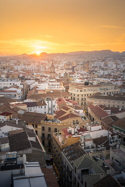 CLKST131401 Elevated view of Malaga old town, Andalusia, Spain