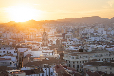 CLKST131438 Elevated view of Malaga old town, Andalusia, Spain