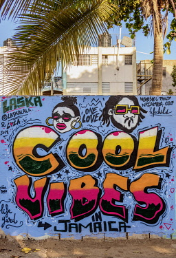 JAM0135AW Life Yard Graffiti, Fleet Street, Downtown, Kingston, Kingston Parish, Jamaica