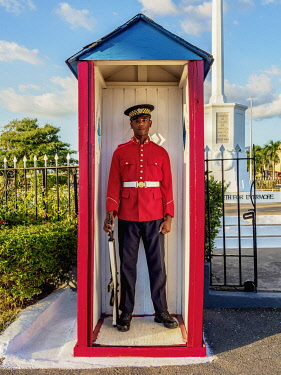 JAM0143AW Guard at National Heroes Park, Kingston, Saint Andrew Parish, Jamaica