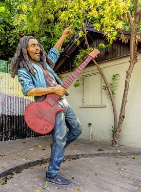 JAM0157AW Bob Marley Statue at Culture Yard, Trench Town, Kingston, Saint Andrew Parish, Jamaica