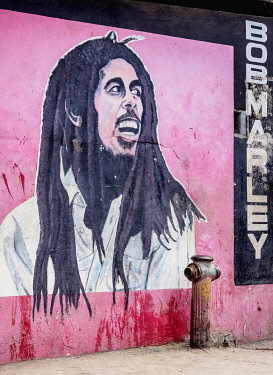 JAM0167AW Bob Marley Graffiti Mural Painting, 1st Street, Trench Town, Kingston, Saint Andrew Parish, Jamaica