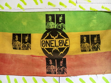 JAM0192AW One Love Rasta Flag at Rastafarian Community, Blue Mountains, Saint Andrew Parish, Jamaica