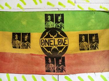 JAM0192AW One Love Rasta Flag at Rastafarian Community, Blue Mountains, Saint Andrew Parish, Jamaica
