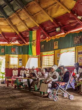 JAM0204AW Weekly Sabbath Celebration, School of Vision Temple, Rastafarian Community, Blue Mountains, Saint Andrew Parish, Jamaica