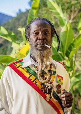 JAM0223AW Rasta Priest at Rastafarian Community, Blue Mountains, Saint Andrew Parish, Jamaica