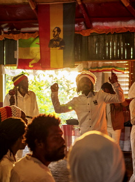 JAM0225AW Weekly Sabbath Celebration, School of Vision Temple, Rastafarian Community, sunset, Blue Mountains, Saint Andrew Parish, Jamaica