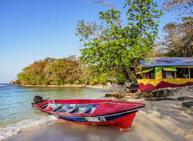 JAM0252AW Fishing Boat at Winnifred Beach, Portland Parish, Jamaica