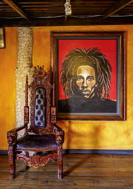 JAM0274AW Bob Marley Mausoleum Complex, museum interior, Nine Mile, Saint Ann Parish, Jamaica