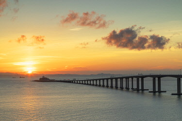 CH12479AW Hong Kong-Zhuhai-Macau bridge at sunset, Lantau Island, Hong Kong