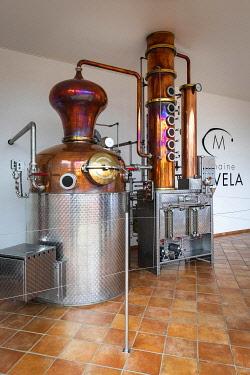 FRA11859AW France, Corse, Aleria, Distiller machines at the entrance of the Mavela factory.