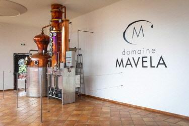 FRA11860AW France, Corse, Aleria, Distiller machines at the entrance of the Mavela factory.