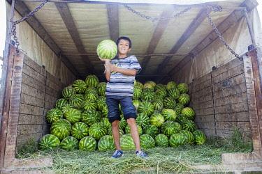 TAJ1146AW Boy holding a watermelon the back of a truck, Dushanbe Market, Dushanbe, Tajikistan