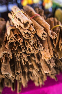 FRA11939AW French West Indies, Guadeloupe, Pointe-à-Pitre, Cinnamon sticks at the Saint Antoine market.