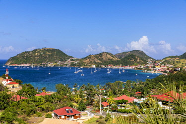 FRA11964AW French West Indies, Guadeloupe, Iles des Saintes, Elevated view of Terre de Haut island.