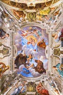 IBLJUN05801608 Blessed Caterina and Giuliana adore the Virgin and Blessing Child Jesus, ceiling fresco by Antonio Busca, 1686, Sacro Monte di Varese Pilgrimage Route, Baroque, UNESCO World Heritage Site, Santa Maria...