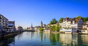 IBLVFW05389860 View of the Lindenhof quarter with Schipfe and the river Limmat, Zurich old town, Zurich, Canton Zurich, Switzerland, Europe