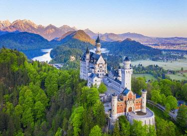IBXMAN05774345 Neuschwanstein Castle, Hohenschwangau Castle, Alpsee, near Schwangau, drone shot, East Allgau, Allgau, Swabia, Bavaria, Germany, Europe