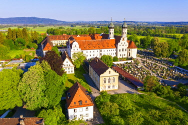 IBXMAN05791292 Benediktbeuern Monastery, in front guest house and old monastery library, T�lzer Land, drone shot, Upper Bavaria, Bavaria, Germany, Europe