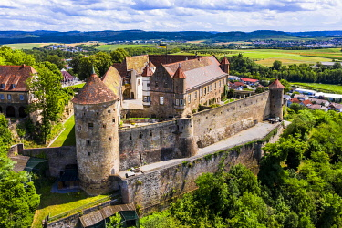 IBXMOX05780655 Aerial view of Stettenfels Castle, Untergruppenbach, Baden-Wurttemberg, Germany, Europe