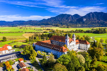 IBXMOX05794565 Aerial view of Schlehdorf Monastery with St. Tertulin Parish Church at Lake Lake Kochel, Schlehdorf Upper Bavaria, Bavaria, Germany, Europe