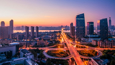 Highway, skyline, dusk, Wuhan, China, sunrise, Asia