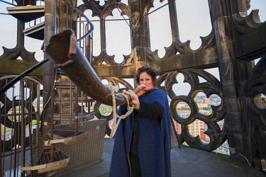 GER12261AW Martje Salje, Tower Keeper at St Lambert�s church, Munster, Germany