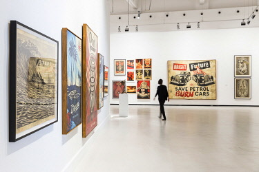 SPA9825AW Spain, Andalusia, Malaga, Artworks from Shepard Fairey in the CAC (Centre of Contemporary Art).