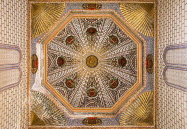 SPA9884AW Spain, Castilla-La Mancaha, Toledo's Cathedral, Decoration of the vault of the  Mozarabic Chapel