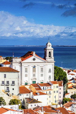 POR10111 Portugal. Lisbon. Detail of part of the Alfama district with the church of Santo Estevao.
