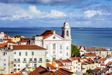 POR10112 Portugal. Lisbon. Detail of part of the Alfama district with the church of Santo Estevao.
