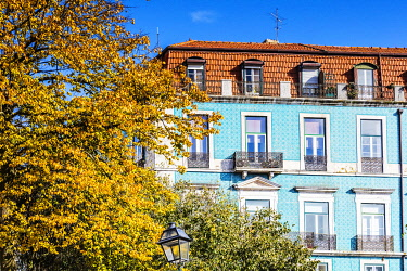 POR10116 Portugal. Lisbon. Typical Portugese house with coloured tiles or as they are locally known Azulejos.