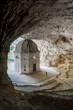 ITA15662AW Valadier Temple in a cave, Marche region, Central Italy. (MR)