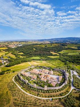 ITA15669AWRF Monteriggioni from above, Tuscany, Italy