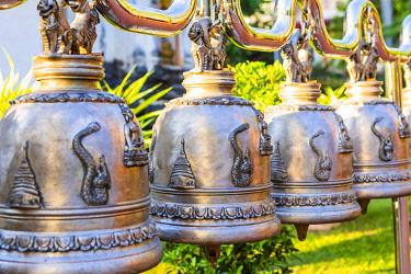 THA1589AWRF Bells at Wat Phra Singh (Gold Temple), Chiang Mai, Northern Thailand, Thailand