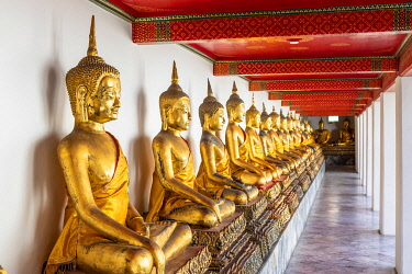 THA1627AW Buddha statues in Wat Pho (Temple of the Reclining Buddha), Bangkok, Thailand