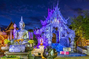 THA1647AW Silver Temple at night, Chiang Mai, Northern Thailand, Thailand