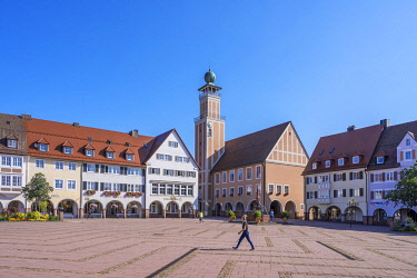 GER12361AW Kasernenplatz with city hall, Freudenstadt, Black Forest, Baden-Wurttemberg, Germany