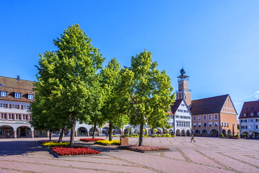 GER12362AW Kasernenplatz with city hall, Freudenstadt, Black Forest, Baden-Wurttemberg, Germany