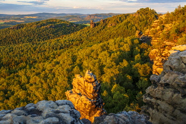 GER12385AW europe, Germany, Saxony. A landscape at sunset in the Saxon Switzerland with rock formations